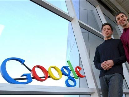 Google-Gründer Sergey Brin (links) und Larry Page im Firmensitz in in Mountain View. (AP)