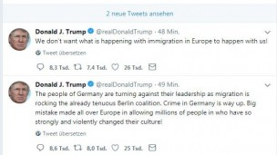 Donald Trump kritisiert Deutschlands Asylpolitik via Twitter (Screenshot Twitter)