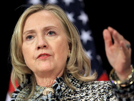 US-Außenministerin Hillary Clinton (picture alliance / dpa / EPA / Olivier Hoslet)